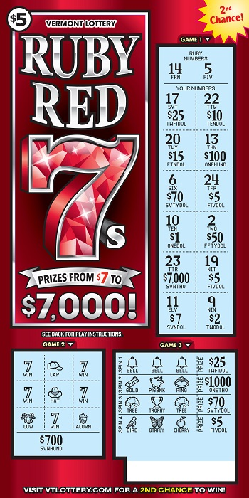 Ruby Red 7s | Instant Lottery Tickets | Vermont Lottery