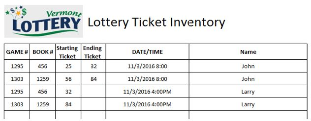 Lottery Ticket Inventory sheet example