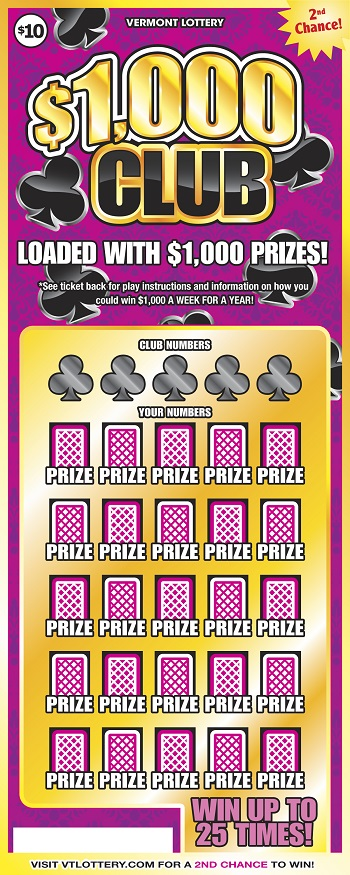 1 000 Club Instant Lottery Tickets Vermont Lottery