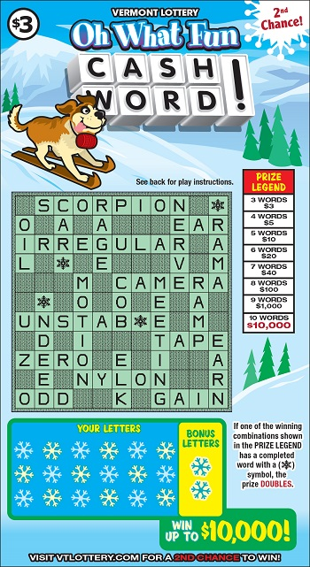 Oh What Fun Cashword! | Instant Lottery Tickets | Vermont