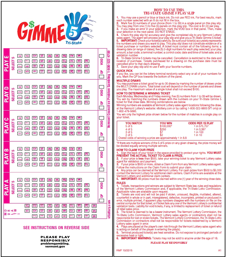 Gimme 5 - Tri-State | Winning Numbers | Vermont Lottery